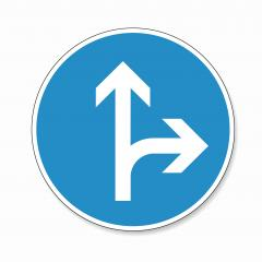 traffic sign direction of travel. German traffic sign: Go straight or right on white background. Vector illustration. Eps 10 vector file. - Stock Photo or Stock Video of rcfotostock | RC-Photo-Stock