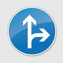 traffic sign direction of travel. German traffic sign: Go straight or right on checked transparent background. Vector illustration. Eps 10 vector file. : Stock Photo or Stock Video Download rcfotostock photos, images and assets rcfotostock | RC-Photo-Stock.: