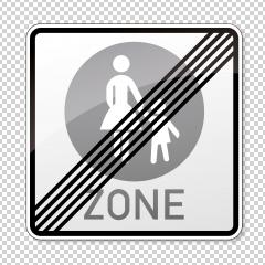 traffic sign end pedestrian area. German sign at the end of a pedestrian zone depicting mother and child on checked transparent background. Vector illustration. Eps 10 vector file.- Stock Photo or Stock Video of rcfotostock | RC-Photo-Stock