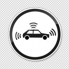 traffic sign for autonomous vehicles. German traffic sign Warning or Caution, Autonomous vehicle crossing on checked transparent background. Vector illustration. Eps 10 vector file.- Stock Photo or Stock Video of rcfotostock | RC-Photo-Stock