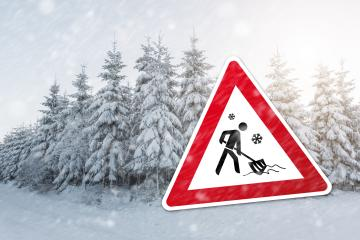 traffic sign for winter time with push snow icon and a winter forest : Stock Photo or Stock Video Download rcfotostock photos, images and assets rcfotostock | RC-Photo-Stock.: