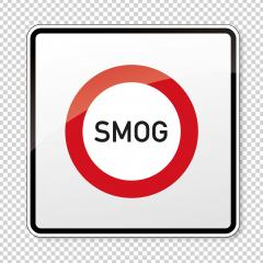 traffic sign forbidden entrance area smog concentration. German traffic sign: smog area on checked transparent background. Vector illustration. Eps 10 vector file.- Stock Photo or Stock Video of rcfotostock | RC-Photo-Stock