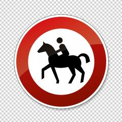 traffic sign forbidden entrance horse. German traffic sign prohibiting thoroughfare of equestrians on checked transparent background. Vector illustration. Eps 10 vector file.- Stock Photo or Stock Video of rcfotostock | RC-Photo-Stock