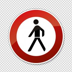 traffic sign forbidden entrance pedestrian. German sign warning about Ban for pedestrians on checked transparent background. Vector illustration. Eps 10 vector file.- Stock Photo or Stock Video of rcfotostock | RC-Photo-Stock