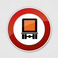 traffic sign forbidden entrance truck. German traffic sign prohibiting thoroughfare of motor vehicles subject to identification of dangerous goods on checked transparent background. Vector Eps 10.- Stock Photo or Stock Video of rcfotostock | RC-Photo-Stock
