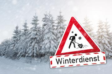 traffic sign German word Winterdienst (winter services) for winter time with push snow icon and a winter forest : Stock Photo or Stock Video Download rcfotostock photos, images and assets rcfotostock | RC-Photo-Stock.: