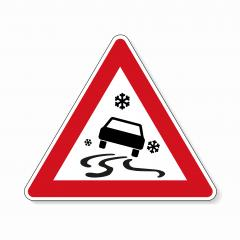 traffic sign ice spin danger. German sign warning about ice slip danger (Schleudergefahr) at wintertime on white background. Vector illustration. Eps 10 vector file.- Stock Photo or Stock Video of rcfotostock | RC-Photo-Stock