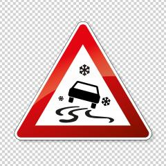 traffic sign ice spin danger. German sign warning about ice slip danger (Schleudergefahr) at wintertime on checked transparent background. Vector illustration. Eps 10 vector file.- Stock Photo or Stock Video of rcfotostock | RC-Photo-Stock