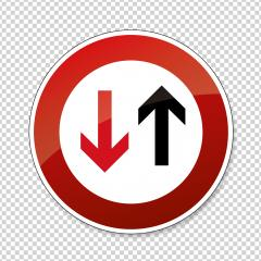 traffic sign no passing. German traffic sign indicating that oncoming traffic has priority on checked transparent background. Vector illustration. Eps 10 vector file.- Stock Photo or Stock Video of rcfotostock | RC-Photo-Stock