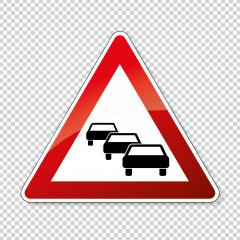 traffic sign no passing. German traffic sign warning about likeliness of traffic queues on checked transparent background. Vector illustration. Eps 10 vector file. : Stock Photo or Stock Video Download rcfotostock photos, images and assets rcfotostock | RC-Photo-Stock.: