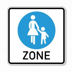 traffic sign pedestrian area. German sign at a pedestrian zone depicting mother and child on white background. Vector illustration. Eps 10 vector file.- Stock Photo or Stock Video of rcfotostock | RC-Photo-Stock
