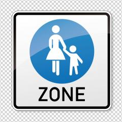 traffic sign pedestrian area. German sign at a pedestrian zone depicting mother and child on checked transparent background. Vector illustration. Eps 10 vector file.- Stock Photo or Stock Video of rcfotostock | RC-Photo-Stock