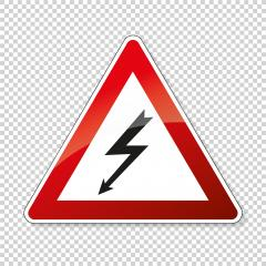 traffic sign pedestrian crossing. German sign warning about a pedestrian crossing in German Zebrastreifen on checked transparent background. Vector illustration. Eps 10 vector file. - Stock Photo or Stock Video of rcfotostock | RC-Photo-Stock