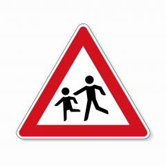 traffic sign playing children. German warning sign about children on the road on white background. Vector illustration. Eps 10 vector file. : Stock Photo or Stock Video Download rcfotostock photos, images and assets rcfotostock | RC-Photo-Stock.: