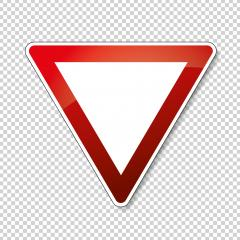 traffic sign right of way. German traffic sign: Give way! on checked transparent background. Vector illustration. Eps 10 vector file. : Stock Photo or Stock Video Download rcfotostock photos, images and assets rcfotostock | RC-Photo-Stock.: