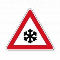 traffic sign snowfall. A road warning sign in Germany: Ice on white background. Vector illustration. Eps 10 vector file.- Stock Photo or Stock Video of rcfotostock | RC-Photo-Stock