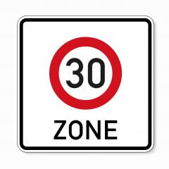 traffic sign speed limit area thirty. German traffic sign indicating a zone with reduced traffic and a speed limit of 30 kilometers per hour on white background. Vector illustration. Eps 10 vector.- Stock Photo or Stock Video of rcfotostock | RC-Photo-Stock