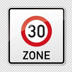 traffic sign speed limit area thirty. German traffic sign indicating a zone with reduced traffic and a speed limit of 30 kilometers per hour checked transparent background. Vector illustration. Eps 10- Stock Photo or Stock Video of rcfotostock | RC-Photo-Stock