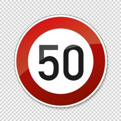 traffic sign speed limit fifty. German traffic sign restricting speed to 50 kilometers per hour on checked transparent background. Vector illustration. Eps 10 vector file.- Stock Photo or Stock Video of rcfotostock | RC-Photo-Stock