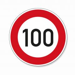 traffic sign speed limit one hundred. German traffic sign restricting speed to 100 kilometers per hour on white background. Vector illustration. Eps 10 vector file.- Stock Photo or Stock Video of rcfotostock | RC-Photo-Stock