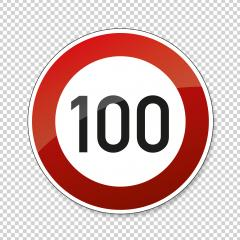 traffic sign speed limit one hundred. German traffic sign restricting speed to 100 kilometers per hour on checked transparent background. Vector illustration. Eps 10 vector file. : Stock Photo or Stock Video Download rcfotostock photos, images and assets rcfotostock | RC-Photo-Stock.: