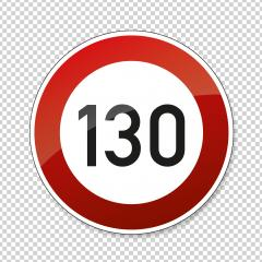 traffic sign speed limit one hundred thirty. German traffic sign restricting speed to 130 kilometers per hour on checked transparent background. Vector illustration. Eps 10 vector file.- Stock Photo or Stock Video of rcfotostock | RC-Photo-Stock