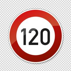 traffic sign speed limit one hundred twenty. German traffic sign restricting speed to 120 kilometers per hour on checked transparent background. Vector illustration. Eps 10 vector file.- Stock Photo or Stock Video of rcfotostock | RC-Photo-Stock