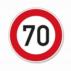 traffic sign speed limit seventy. German traffic sign restricting speed to 70 kilometers per hour on white background. Vector illustration. Eps 10 vector file.- Stock Photo or Stock Video of rcfotostock | RC-Photo-Stock