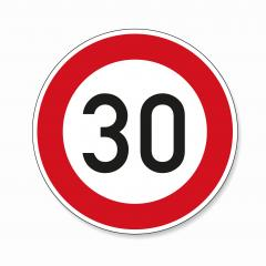 traffic sign speed limit thirty. German traffic sign restricting speed to 30 kilometers per hour on white background. Vector illustration. Eps 10 vector file.- Stock Photo or Stock Video of rcfotostock | RC-Photo-Stock