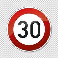 traffic sign speed limit thirty. German traffic sign restricting speed to 30 kilometers per hour on checked transparent background. Vector illustration. Eps 10 vector file.- Stock Photo or Stock Video of rcfotostock | RC-Photo-Stock