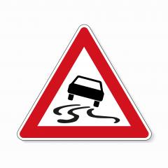 traffic sign spin danger. German sign warning about slip danger (Schleudergefahr) on white background. Vector illustration. Eps 10 vector file.- Stock Photo or Stock Video of rcfotostock | RC-Photo-Stock