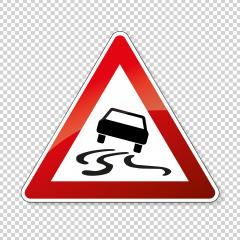 traffic sign spin danger. German sign warning about slip danger (Schleudergefahr) on checked transparent background. Vector illustration. Eps 10 vector file.- Stock Photo or Stock Video of rcfotostock | RC-Photo-Stock