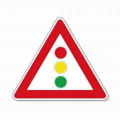 traffic sign traffic lights. German sign warning about traffic lights on white background. Vector illustration. Eps 10 vector file.- Stock Photo or Stock Video of rcfotostock | RC-Photo-Stock