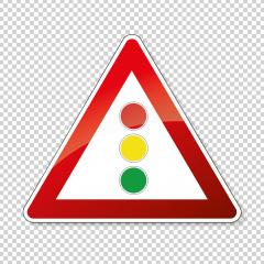 traffic sign traffic lights. German sign warning about traffic lights on checked transparent background. Vector illustration. Eps 10 vector file.- Stock Photo or Stock Video of rcfotostock | RC-Photo-Stock