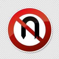 traffic sign turn forbade. German regulatory road sign: No U-Turn on checked transparent background. Vector illustration. Eps 10 vector file. : Stock Photo or Stock Video Download rcfotostock photos, images and assets rcfotostock | RC-Photo-Stock.: