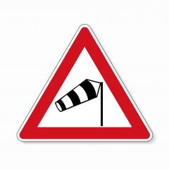 traffic sign wind vane. Old design (1992) of a German sign warning about cross wind from the right on white background. Vector illustration. Eps 10 vector file.- Stock Photo or Stock Video of rcfotostock | RC-Photo-Stock