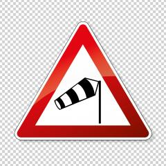 traffic sign wind vane. Old design (1992) of a German sign warning about cross wind from the right on checked transparent background. Vector illustration. Eps 10 vector file. : Stock Photo or Stock Video Download rcfotostock photos, images and assets rcfotostock | RC-Photo-Stock.:
