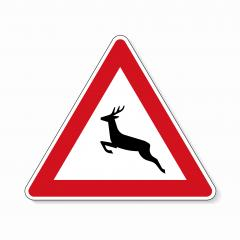 traffic signs deer crossing. German sign warning about wild animals like deer crossing the road on white background. Vector illustration. Eps 10 vector file. : Stock Photo or Stock Video Download rcfotostock photos, images and assets rcfotostock | RC-Photo-Stock.: