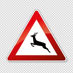 traffic signs deer crossing. German sign warning about wild animals like deer crossing the road on checked transparent background. Vector illustration. Eps 10 vector file.- Stock Photo or Stock Video of rcfotostock | RC-Photo-Stock