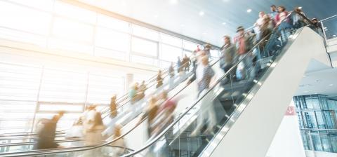traidshow staircase with blurred people- Stock Photo or Stock Video of rcfotostock | RC-Photo-Stock