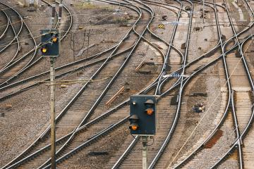 Train tracks with many options for ways forward with multiple switch point and traffic lights : Stock Photo or Stock Video Download rcfotostock photos, images and assets rcfotostock | RC-Photo-Stock.: