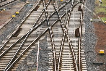 Train tracks with many options for ways forward with multiple switch point- Stock Photo or Stock Video of rcfotostock | RC-Photo-Stock