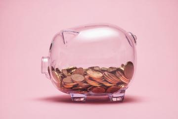 transparent piggy bank with money coins - Stock Photo or Stock Video of rcfotostock | RC-Photo-Stock