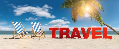 Travel concept with slogan on the beach with deckchairs, Palm tree and blue sky- Stock Photo or Stock Video of rcfotostock | RC-Photo-Stock