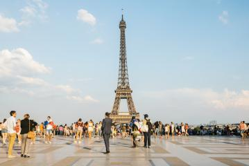 Trocadero square with crowd of people and view of the eiffel tower- Stock Photo or Stock Video of rcfotostock | RC-Photo-Stock