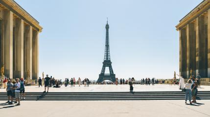 Trocadero square with view of the eiffel tower and crowd of people- Stock Photo or Stock Video of rcfotostock | RC-Photo-Stock