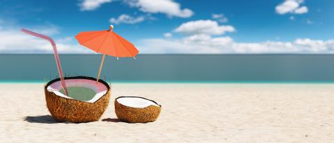 Tropical beach concept made of coconut fruit and sun umbrella. Creative minimal summer idea, copy space for individual text- Stock Photo or Stock Video of rcfotostock | RC-Photo-Stock
