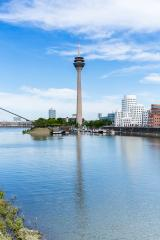 Tv Tower Dusseldorf medienhafen at summer- Stock Photo or Stock Video of rcfotostock | RC-Photo-Stock