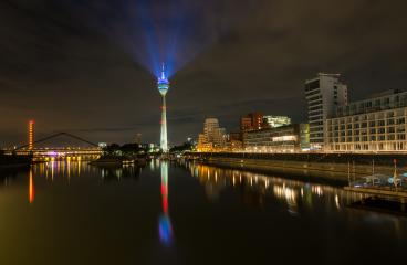 TV tower in Dusseldorf light beaming the sky, germany- Stock Photo or Stock Video of rcfotostock   RC-Photo-Stock