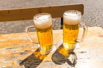 Two beers on table in the garden pub- Stock Photo or Stock Video of rcfotostock | RC-Photo-Stock